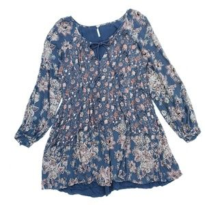 Free People Blue Orange Boho Tassel Floral Tunic